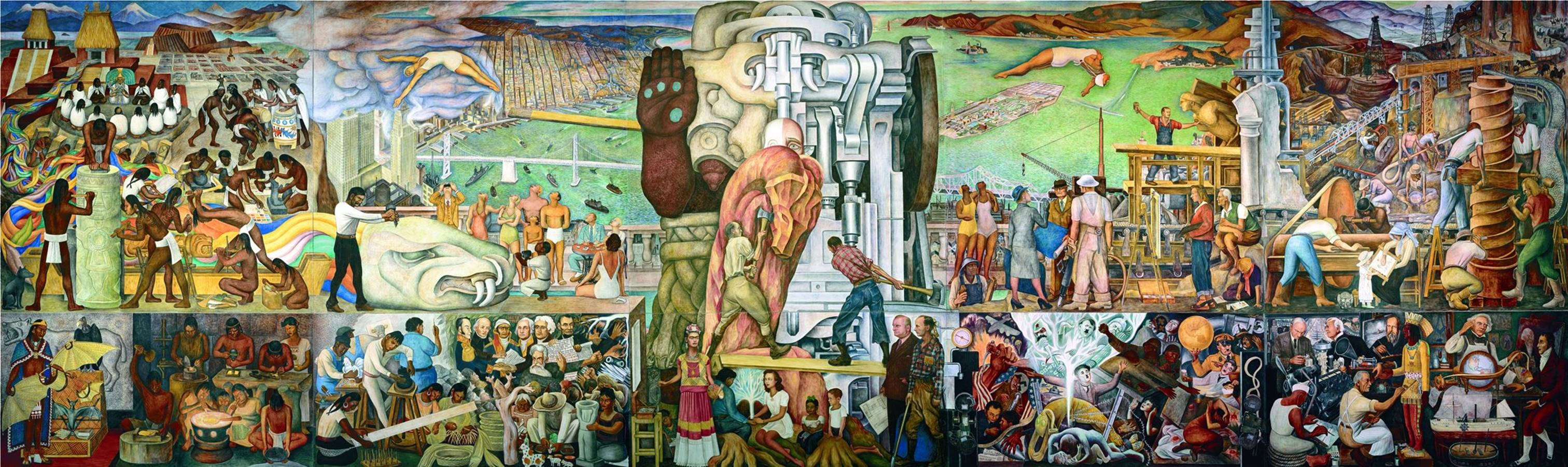 "Diego Rivera, Unión de la Expresión Artistica del Norte y Sur de este Continente"" (The Marriage of the Artistic Expression of the North and of the South on this Continent), 1940, City College of San Francisco"